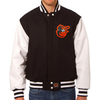 Baltimore Orioles MLB Mens Heavyweight Wool and Leather Jacket