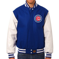 Chicago Cubs MLB Mens Heavyweight Wool and Leather Jacket