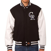 Colorado Rockies MLB Mens Heavyweight Wool and Leather Jacket