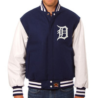 Detroit Tigers MLB Mens Heavyweight Wool and Leather Jacket