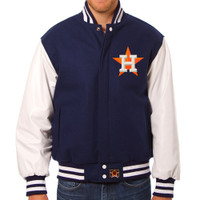 Houston Astros MLB Mens Heavyweight Wool and Leather Jacket