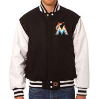 Miami Marlins MLB Mens Heavyweight Wool and Leather Jacket