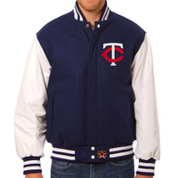 Minnesota Twins MLB Mens Heavyweight Wool and Leather Jacket