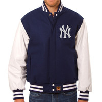 New York Yankees MLB Mens Heavyweight Wool and Leather Jacket