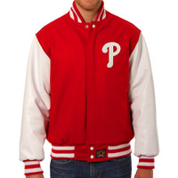 Philadelphia Phillies MLB Mens Heavyweight Wool and Leather Jacket