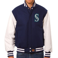 Seattle Mariners MLB Mens Heavyweight Wool and Leather Jacket