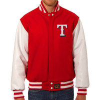 Texas Rangers MLB Mens Heavyweight Wool and Leather Jacket