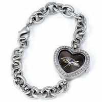 *Baltimore Ravens Stainless Steel Rhinestone Ladies Heart Link Watch