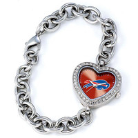 *Buffalo Bills Stainless Steel Rhinestone Ladies Heart Link Watch