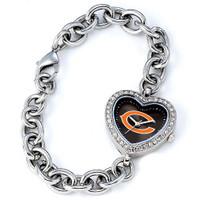 *Chicago Bears Stainless Steel Rhinestone Ladies Heart Link Watch