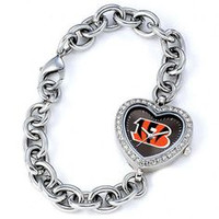 *Cincinnati Bengals Stainless Steel Rhinestone Ladies Heart Link Watch