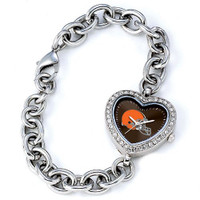 *Cleveland Browns Stainless Steel Rhinestone Ladies Heart Link Watch