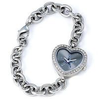 *Dallas Cowboys Stainless Steel Rhinestone Ladies Heart Link Watch