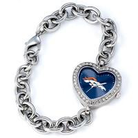 *Denver Broncos Stainless Steel Rhinestone Ladies Heart Link Watch