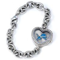 *Detroit Lions Stainless Steel Rhinestone Ladies Heart Link Watch