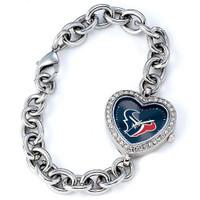 *Houston Texans Stainless Steel Rhinestone Ladies Heart Link Watch