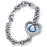 *Indianapolis Colts Stainless Steel Rhinestone Ladies Heart Link Watch