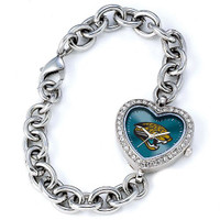 *Jacksonville Jaguars Stainless Steel Rhinestone Ladies Heart Link Watch