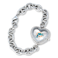 *Miami Dolphins Stainless Steel Rhinestone Ladies Heart Link Watch