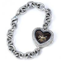 *New Orleans Saints Stainless Steel Rhinestone Ladies Heart Link Watch