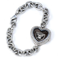 *Oakland Raiders Stainless Steel Rhinestone Ladies Heart Link Watch