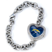 *San Diego Chargers Stainless Steel Rhinestone Ladies Heart Link Watch