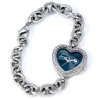 *Seattle Seahawks Stainless Steel Rhinestone Ladies Heart Link Watch