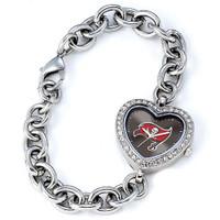 *Tampa Bay Buccaneers Stainless Steel Rhinestone Ladies Heart Link Watch