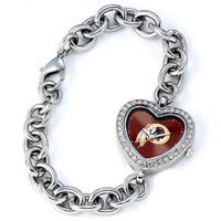 *Washington Redskins Stainless Steel Rhinestone Ladies Heart Link Watch