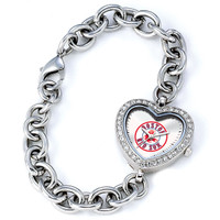 Boston Red Sox Stainless Steel Rhinestone Ladies Heart Link Watch