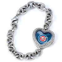 Chicago Cubs Stainless Steel Rhinestone Ladies Heart Link Watch
