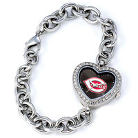 Cincinnati Reds Stainless Steel Rhinestone Ladies Heart Link Watch