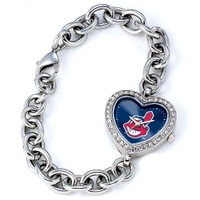 Cleveland Indians Stainless Steel Rhinestone Ladies Heart Link Watch