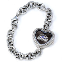 Colorado Rockies Stainless Steel Rhinestone Ladies Heart Link Watch