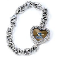 Kansas City Royals Stainless Steel Rhinestone Ladies Heart Link Watch
