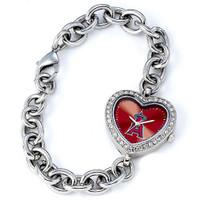 Los Angeles Angels Stainless Steel Rhinestone Ladies Heart Link Watch