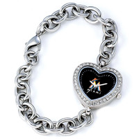 Miami Marlins Stainless Steel Rhinestone Ladies Heart Link Watch
