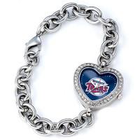 Minnesota Twins Stainless Steel Rhinestone Ladies Heart Link Watch