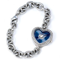 Tampa Bay Rays Stainless Steel Rhinestone Ladies Heart Link Watch
