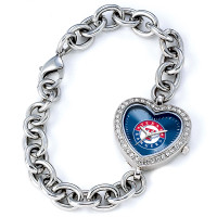 Texas Rangers Stainless Steel Rhinestone Ladies Heart Link Watch