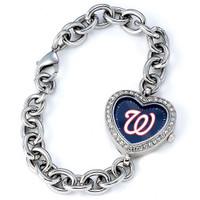 Washington Nationals Stainless Steel Rhinestone Ladies Heart Link Watch