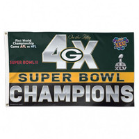 *Green Bay Packers 4 Time Super Bowl Champions 3' x 5' Team Flag