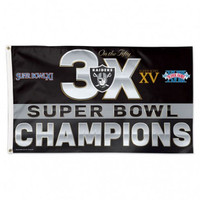 *Oakland Raiders 3 Time Super Bowl Champions 3' x 5' Team Flag