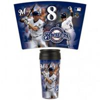 Milwaukee Brewers 16oz Travel Mug