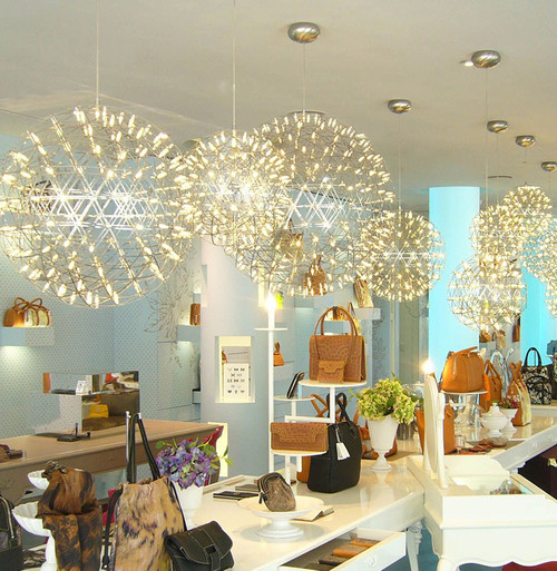 Crystal LED Chandelier Lights Spherical Stainless Steel Shade Modern ...