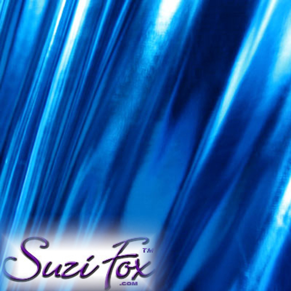 Fabric 3008. Royal Blue Metallic Foil Coated Four Way Stretch Nylon Spandex. 80% Nylon, 20% Spandex. This is a 4-way stretch fabric that looks like royal blue aluminum foil but is stretchy! Black looks like faux leather or rubber.  Available in gold, silver, copper, gunmetal, turquoise, Royal blue, red, green, purple, fuchsia, black faux leather/rubber Metallic Foil.   Metallic will rub off if rubbed excessively. Foil will separate from spandex backing if worn too tight. Hand wash inside out in cold water, line dry. Iron inside out on low heat. Do not bleach.
