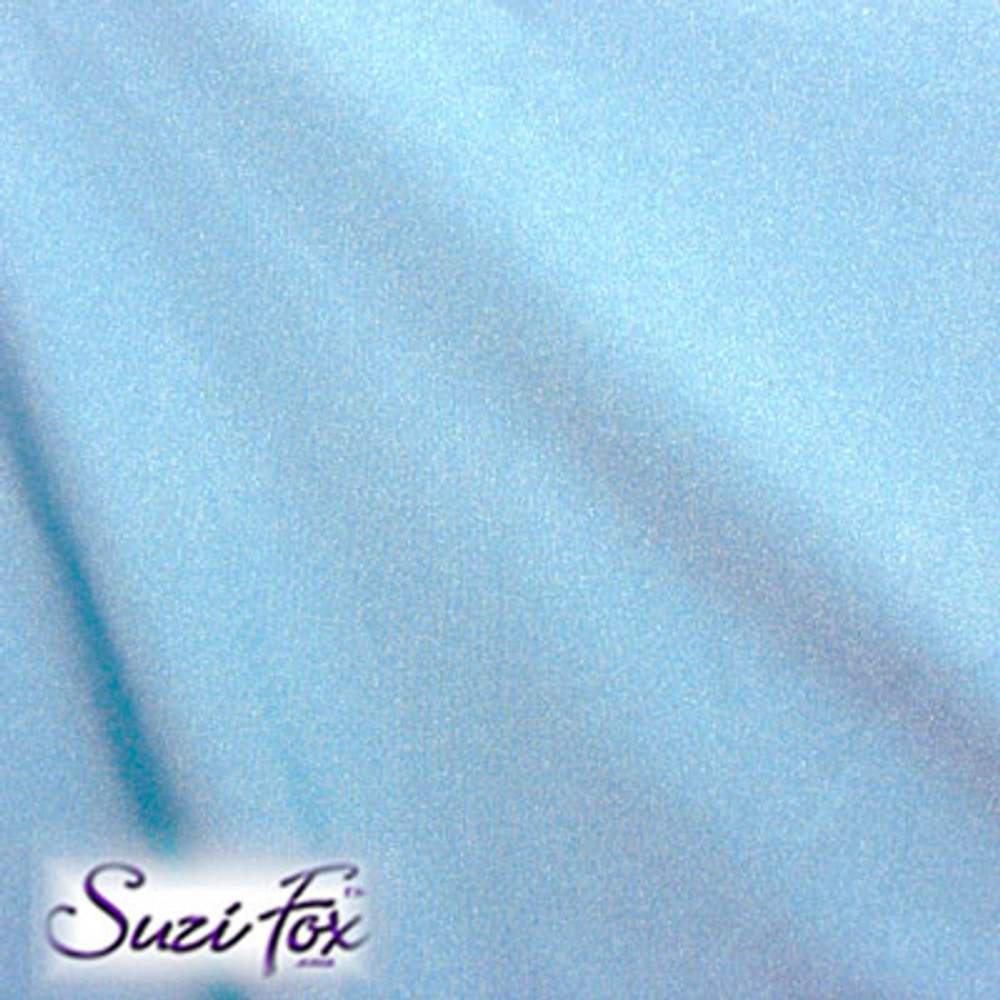 Fabric #1927 - Sky Blue Milliskin Tricot Spandex. Four Way Stretch Nylon Spandex (per yard price if you want to buy extra is $25 per yard) 80% Nylon, 20% Spandex,  Available in black, white, red, royal blue, sky blue, turquoise, purple, green, neon green, hunter green, neon pink, neon orange, athletic gold, lemon yellow, steel gray Miilliskin Tricot spandex.  This is a 4-way extreme stretch fabric with a slight shine. Light, airy, thin, and very comfortable! Lighter colors might be slightly see through when wet.  Hand wash inside out in cold water, line dry. Iron inside out on low heat. Do not bleach.
