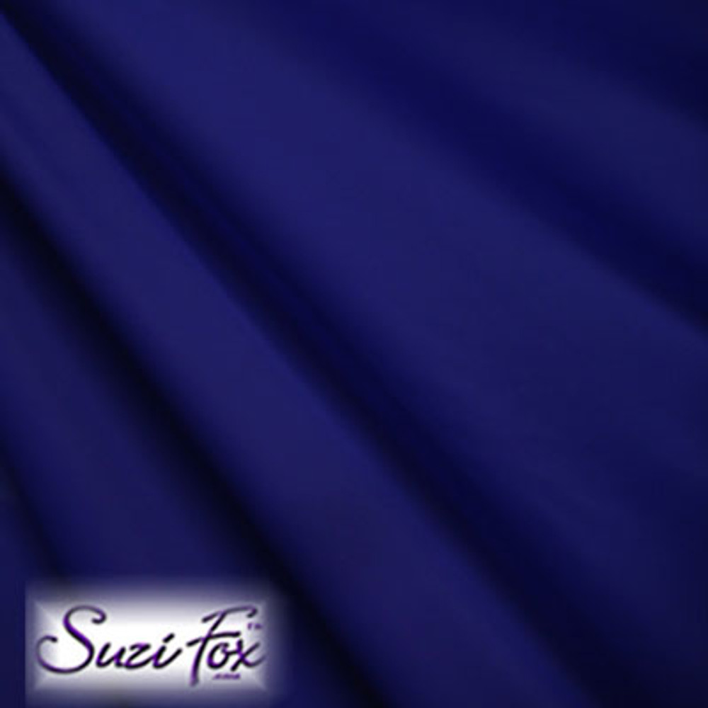 Fabric #1939 - Navy Blue Milliskin Tricot Spandex. Four Way Stretch Nylon Spandex (per yard price if you want to buy extra is $25 per yard) 80% Nylon, 20% Spandex,  Available in black, white, red, royal blue, sky blue, turquoise, purple, green, neon green, hunter green, neon pink, neon orange, athletic gold, lemon yellow, steel gray Miilliskin Tricot spandex.  This is a 4-way extreme stretch fabric with a slight shine. Light, airy, thin, and very comfortable! Lighter colors might be slightly see through when wet.  Hand wash inside out in cold water, line dry. Iron inside out on low heat. Do not bleach.