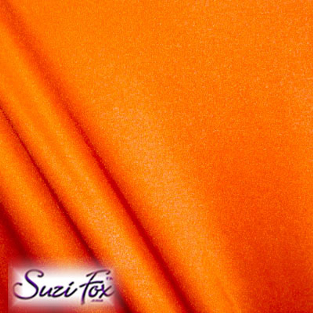 Fabric #1908 - Neon Orange Milliskin Tricot Spandex. Four Way Stretch Nylon Spandex (per yard price if you want to buy extra is $25 per yard) 80% Nylon, 20% Spandex,  Available in black, white, red, royal blue, sky blue, turquoise, purple, green, neon green, hunter green, neon pink, neon orange, athletic gold, lemon yellow, steel gray Miilliskin Tricot spandex.  This is a 4-way extreme stretch fabric with a slight shine. Light, airy, thin, and very comfortable! Lighter colors might be slightly see through when wet.  Hand wash inside out in cold water, line dry. Iron inside out on low heat. Do not bleach.