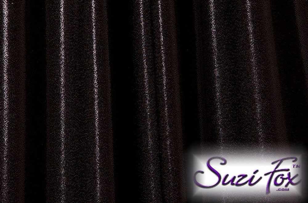 Black Metallic Mystique Fabric. (per yard price if you want to buy extra is $25 per yard) 80% Nylon, 20% Spandex. Available in black, red, turquoise, green, purple, royal blue, hot pink/fuchsia, baby pink, baby blue, silver, copper, gold Metallic Mystique spandex. This is a 4-way stretch fabric with tiny metallic foil dots bonded to the spandex. Light, thin, airy, very comfortable! Glitters in the light!  Metallic will rub off if rubbed excessively. Hand wash inside out in cold water, line dry. Iron inside out on low heat. Do not bleach.